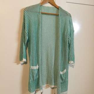 Unbranded White And Green Light Woven Jacket With Pockets