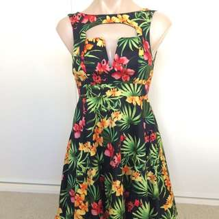Beautiful Floral Tropical Ketchup Dress