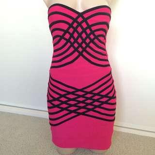 Blockout Hot Pink Bandage Dress