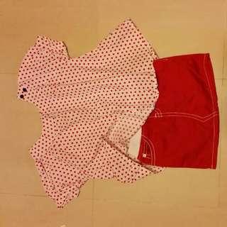 Mini Boden Blouse and Little Polo mini skirt
