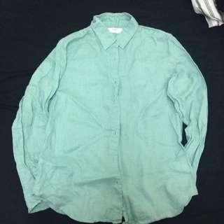Uniqlo藍綠棉麻襯衫
