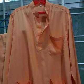 Orange Baju Kurung For Man (Size M)
