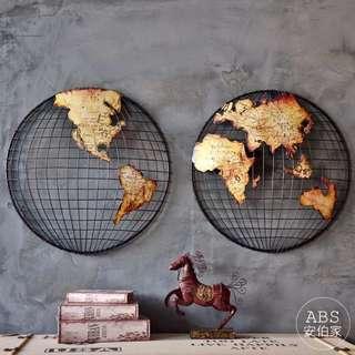 🚚 【ABS安伯家】南北地球款世界地圖牆飾裝飾掛畫餐廳立體鐵藝壁飾書房辦公室壁掛LOFT工業風復古