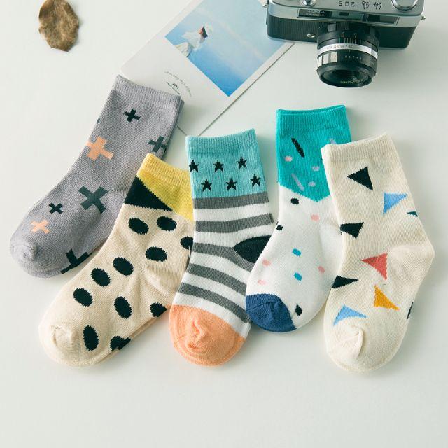 [一組5雙]✨幾何系✨可愛童襪 男寶 女寶 男童襪 女童襪 襪子  4-6歲🎀