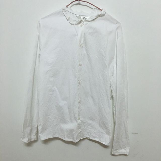 荷葉邊領口純白襯衫(降)