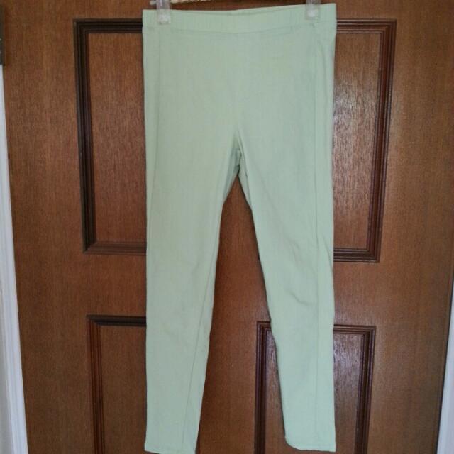 彈性青綠色顯瘦九分小腳褲