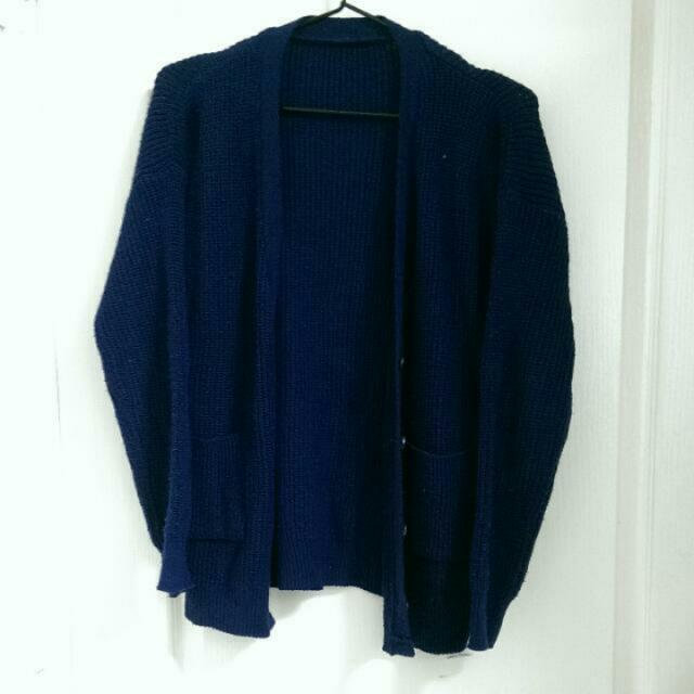 深藍棉針織外套