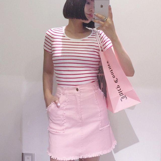 (下殺!!) 韓版高腰牛仔短裙女春修身彈力半身裙顯瘦白色毛邊包臀粉色A字裙AA顯瘦