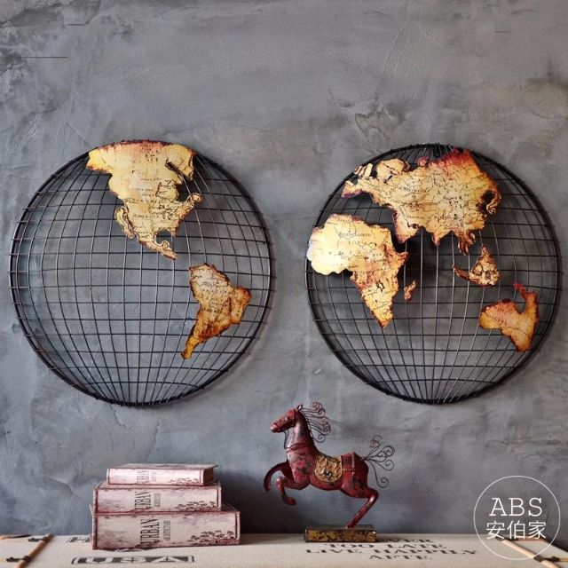 【ABS安伯家】南北地球款世界地圖牆飾裝飾掛畫餐廳立體鐵藝壁飾書房辦公室壁掛LOFT工業風復古
