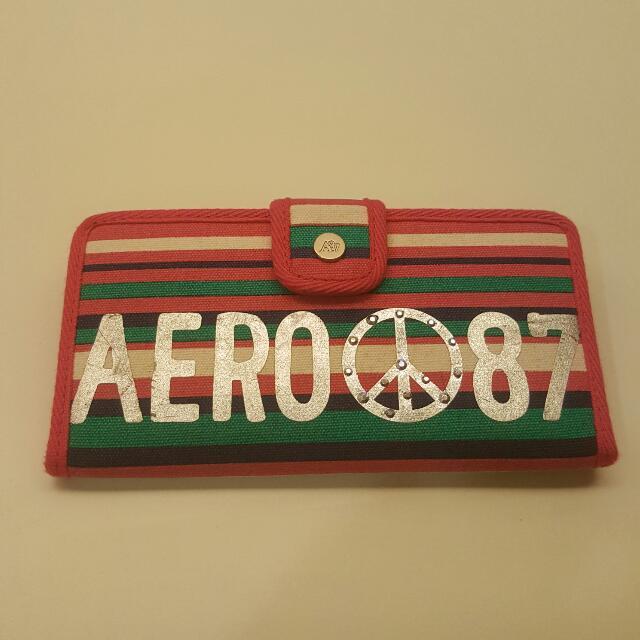 Aeropostale 全新真品彩虹帆布長夾