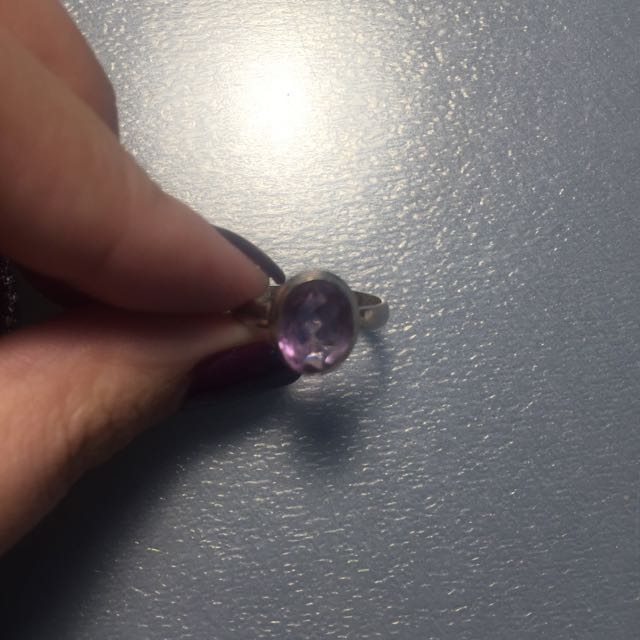 Amethyst Geode Ring With 925 Silver