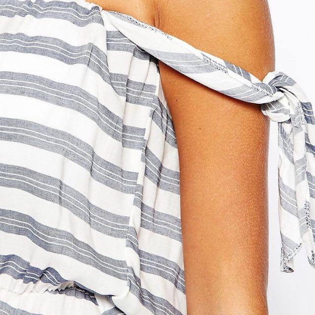 全新現貨英國時尚品牌asos條紋平口露肩連身衣褲