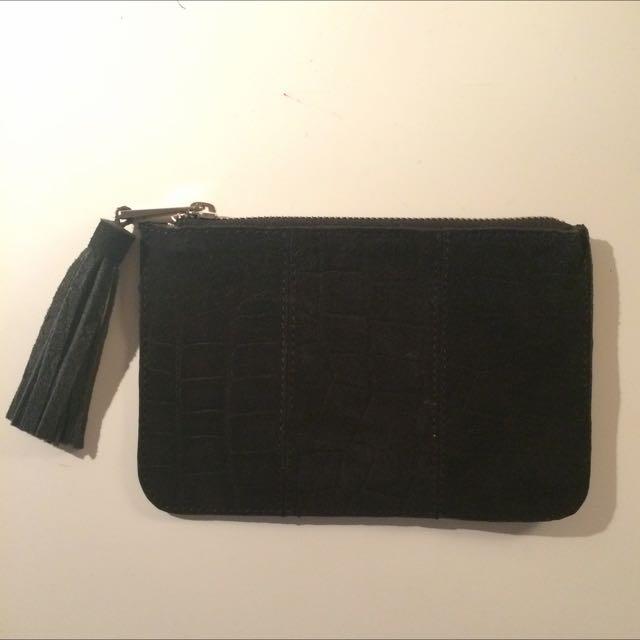 ASOS suede black clutch purse