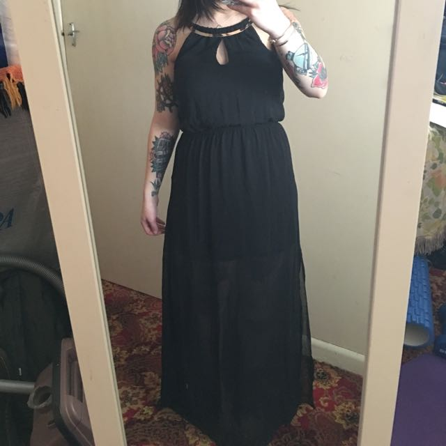BLACK FORMAL DOTTI DRESS