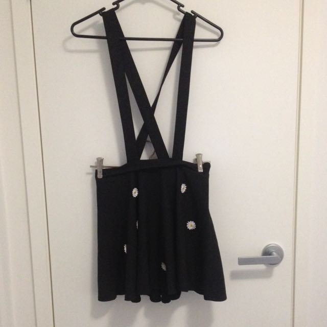 Black Overall Dress Stitched On Daisy Flowers
