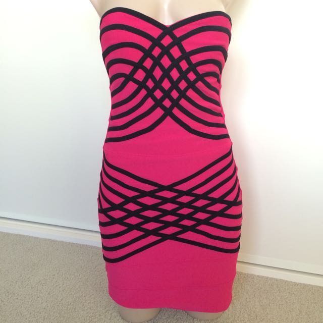 Blockout Hot Pink Bandage Dress