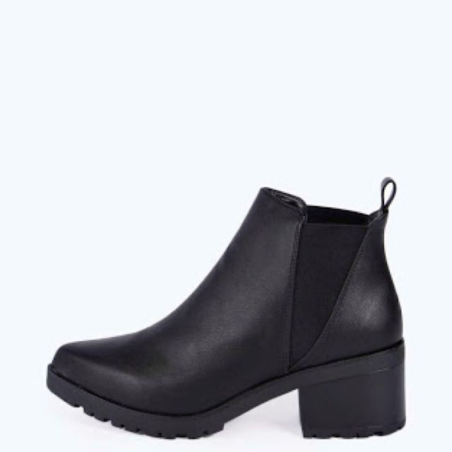 BooHoo Black Leather Ankle Boots