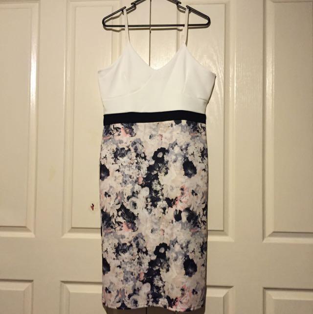 Boohoo Carol Flower Colour Block Dress