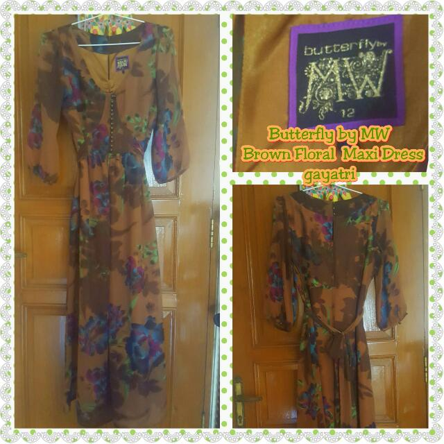 Butterfly by MW - Brown Floral Maxi Dress