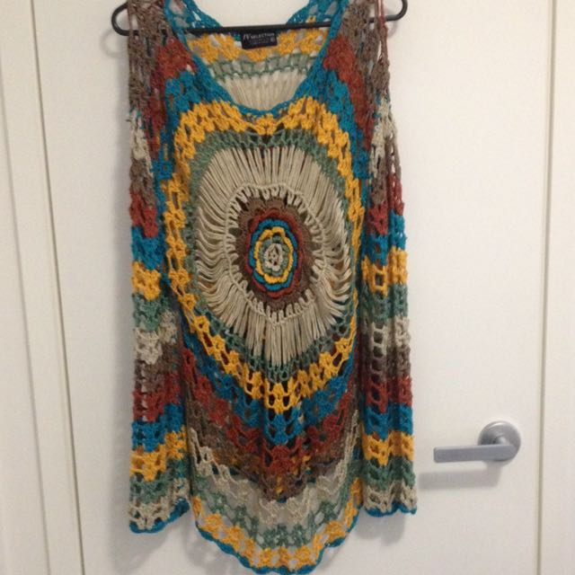 Colourful Knot Crochet Long Sleeve Shirt Size M-L