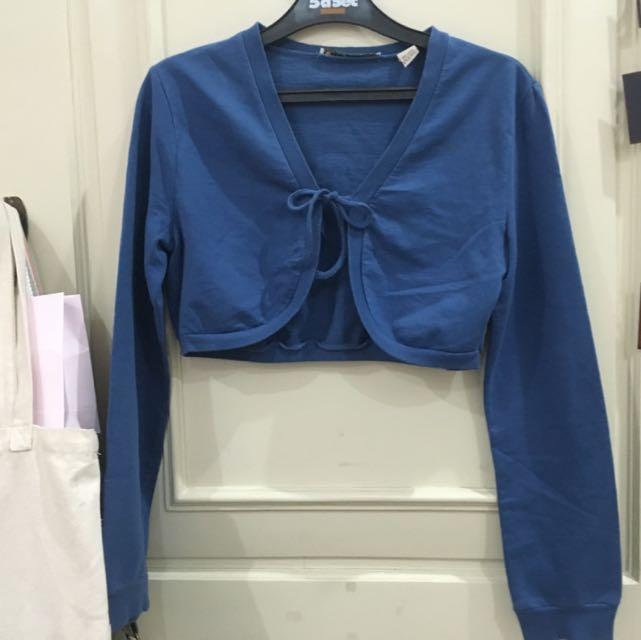 Cropped Blue Cardigan