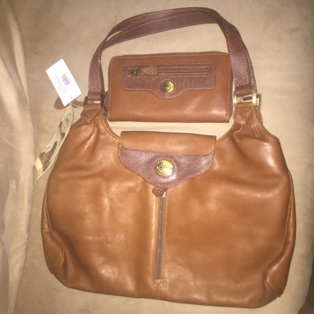 Genuine Leather, LAND Collection Wallet and Shoulder Bag.