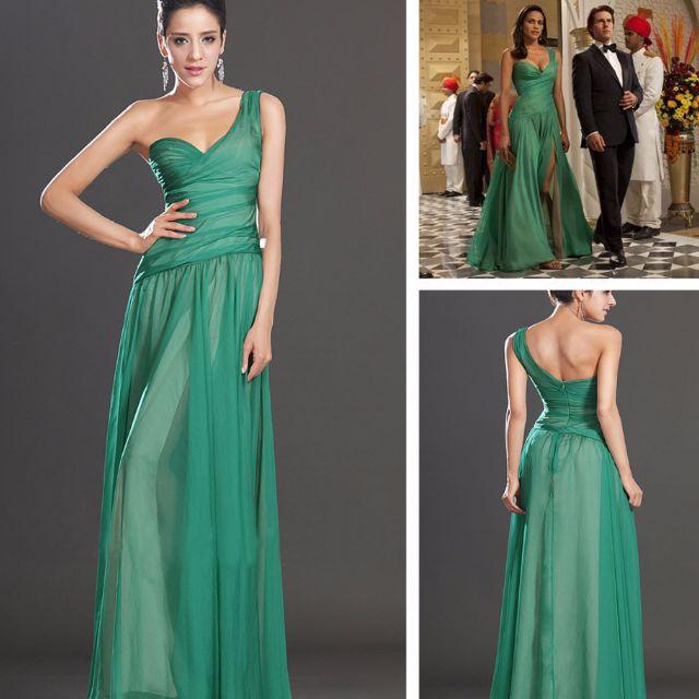 Green Chiffon Formal Dress