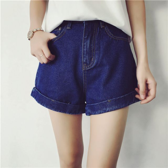 Jessie shop》寬鬆韓風顯瘦捲邊高腰四色牛仔褲