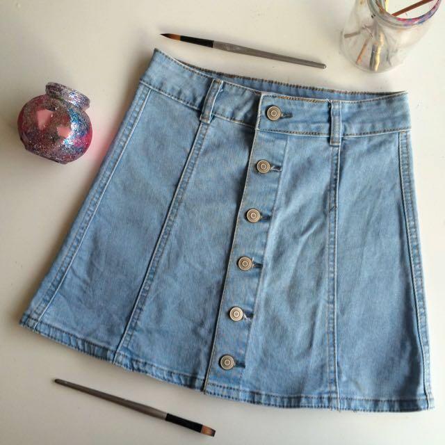 Light Denim A-line Skirt