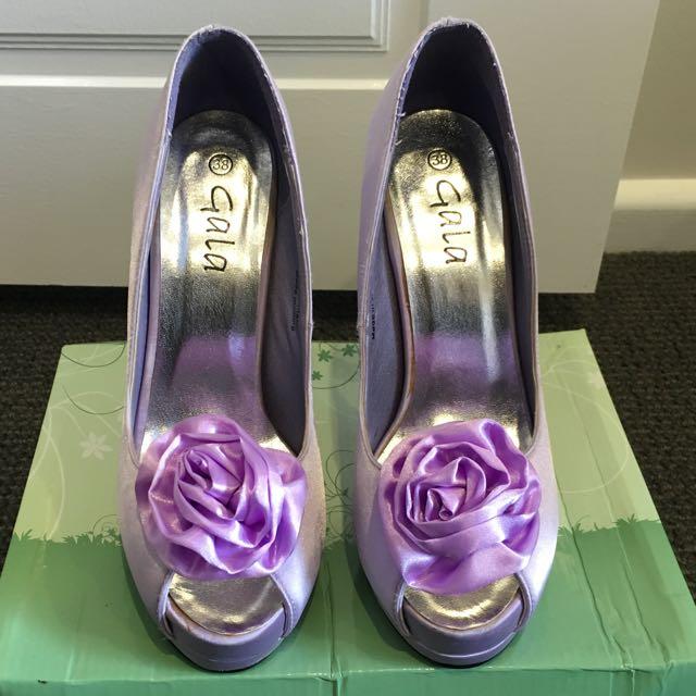 Lilac Satin Heels