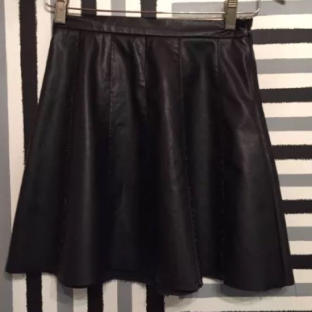 Material World Black Faux Leather High Waisted Skirt Size 8
