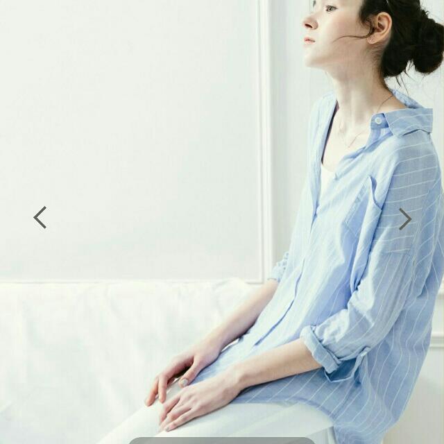 Meierq棉麻感細直紋長版襯衫M號
