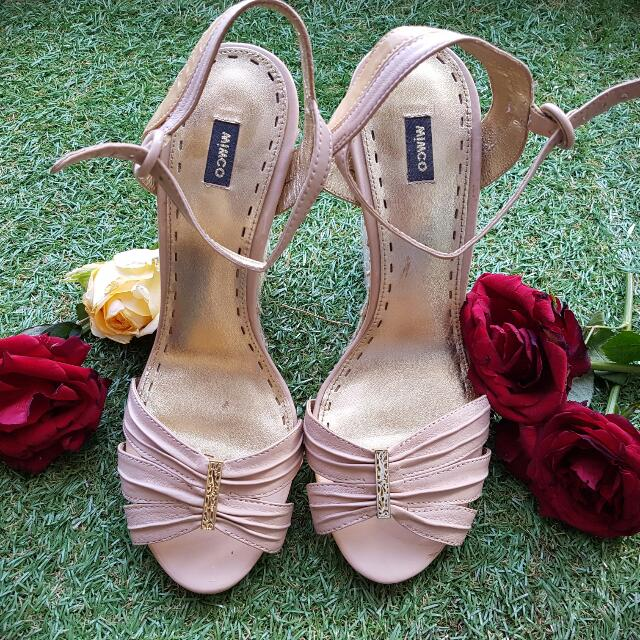 Mimco Ankle Heels In Pastel Pink (Size 10)
