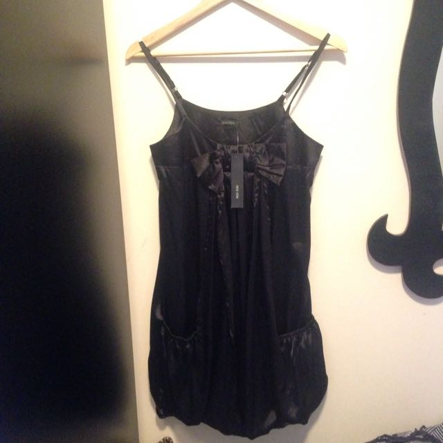 NEW YORK Black Bow Silk Dress (small)