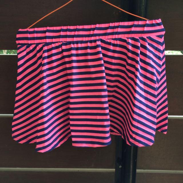 Pink Stripe Mini Skirt