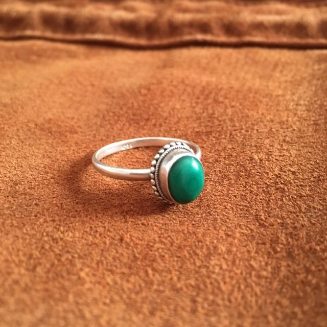 Sterling Silver Green Stone Bohemian Ring