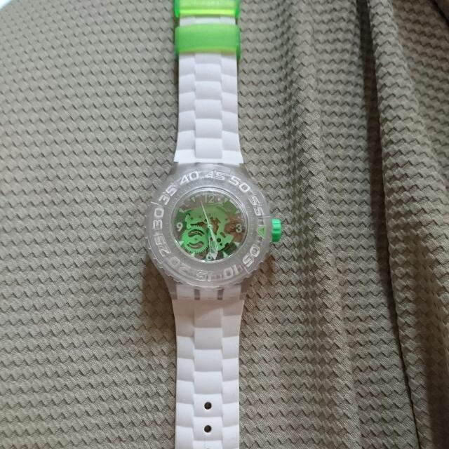Swatch 手錶 白 綠 潛水錶