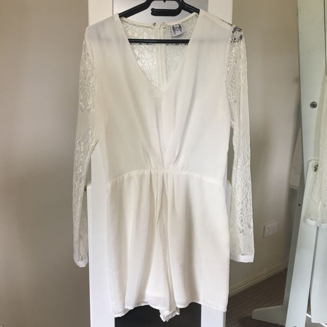 White Playsuit with Lace Back and Sleeves