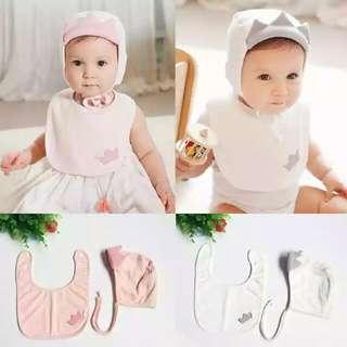 韓版嬰兒帽套裝公主帽女寶寶純棉帽春秋帽皇冠帽子口水三角巾套帽