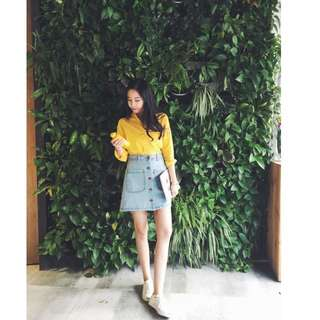 2016春裝新款韓版修身顯瘦氣質百搭純色單排扣A字高腰牛仔短裙 女