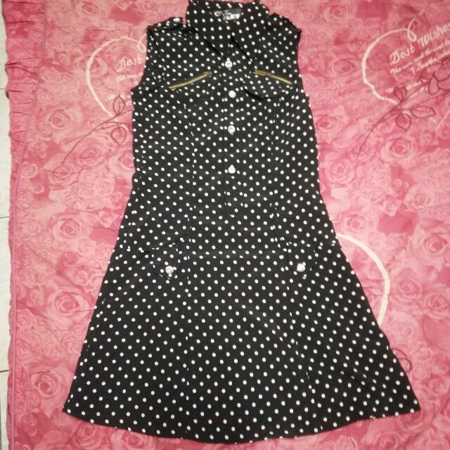 0627🔸黑底白點/削肩/襯衫/洋裝