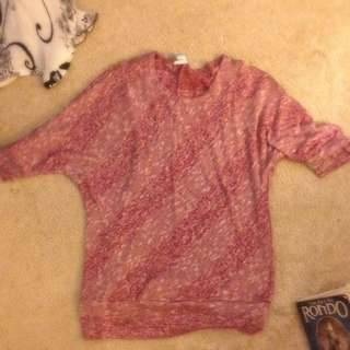 pink elbow length sweater