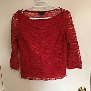 TOPSHOP Red Lace Shirt