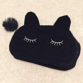 Sleeping Black Cat Makeup Pouch