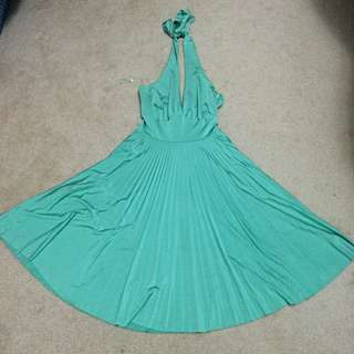 Halter Pleated Green Dress