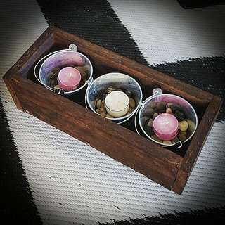 Hand Made Plant Box With Candles
