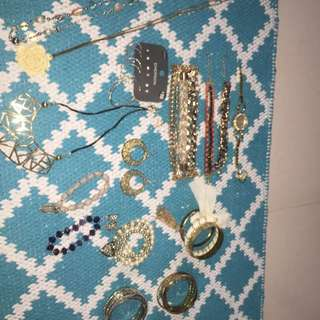NECKLACES, BRACELETS, BANGLES, EARRINGS, WATCH & RING