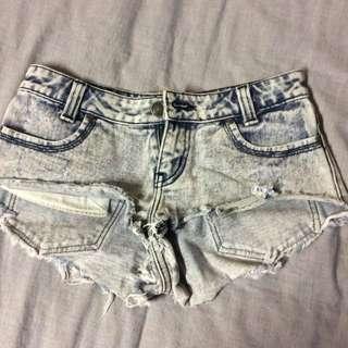 Denim Ripped Shorts, Size 8