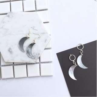 幻彩黑貝殼月亮造型耳環/耳夾