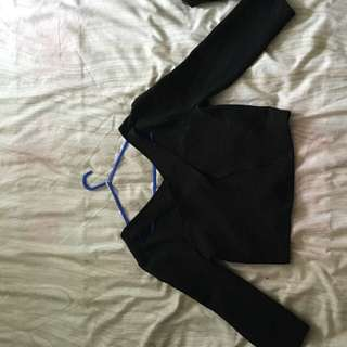 Black Crop With Cut Out Detail